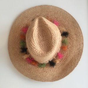 BCBGMaxAzria Straw Hat with Tassels